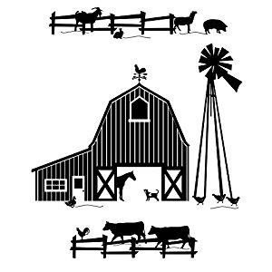 300x300 Farm Scene Silhouette