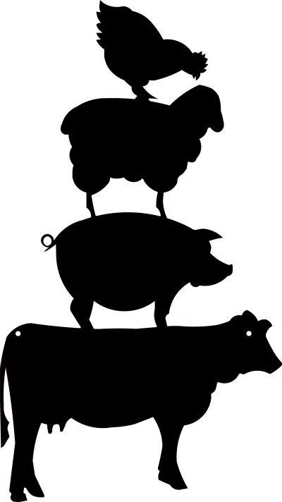 Agriculture Clipart Black And White Farm Silhouette...