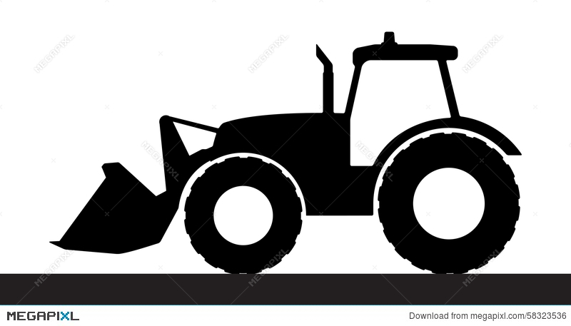 800x457 Tractor Silhouette On A White Background. Illustration 58323536