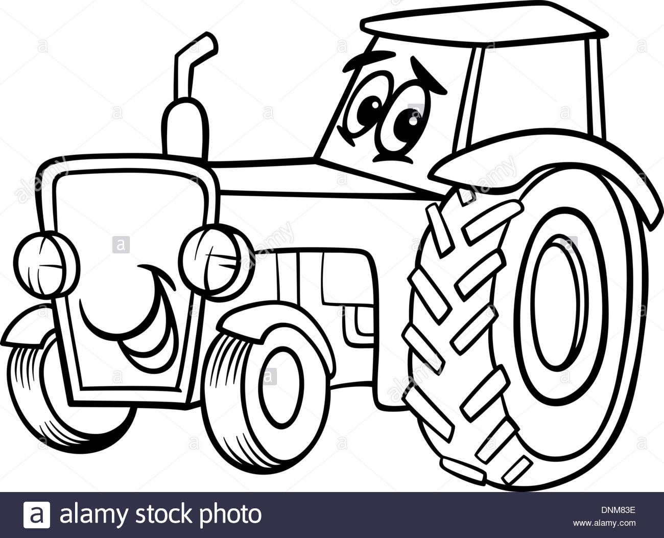 1300x1053 Black And White Cartoon Illustration Of Funny Farm Tractor Vehicle