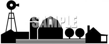 350x143 Farm Clipart Silhouette