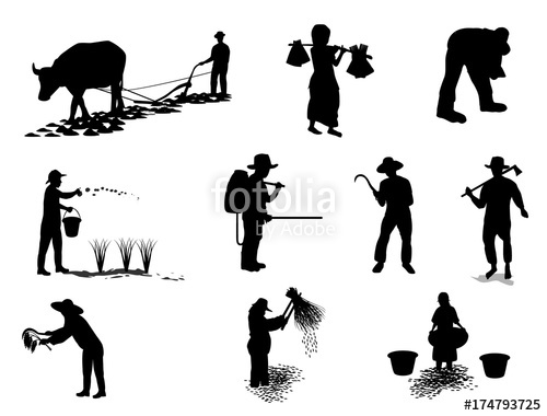 500x380 Silhouette Farmer Shape Vector Design Stock Image And Royalty