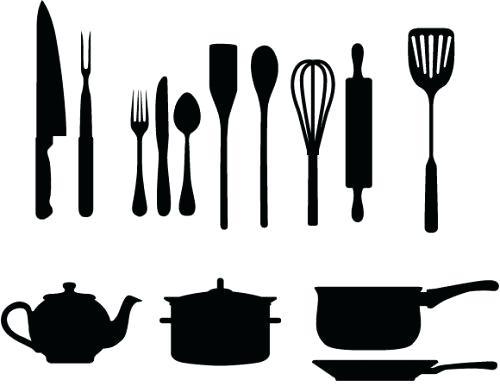 500x386 Silhouette Design Cameo Kitchen Utensils Clipart Free Printable