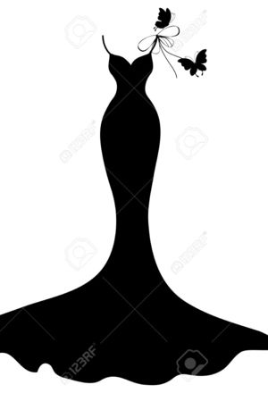300x440 Fashion Girl Silhouette In Wedding Dress Royalty Free Stock Photo