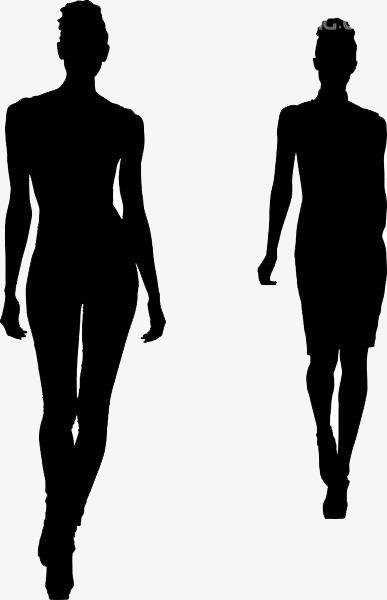 387x600 Silhouette Fashion Model Girl, Fashion, Sketch, Model Png Image