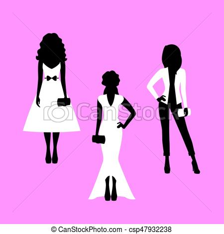 450x470 Fashion Woman Model Silhouettes Set In Various Poses