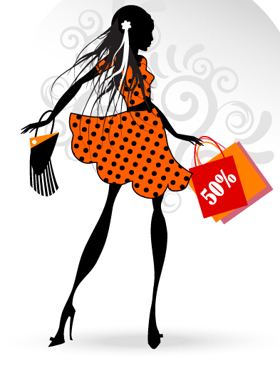 393x524 Fashion Girl With Shopping Vectors 02