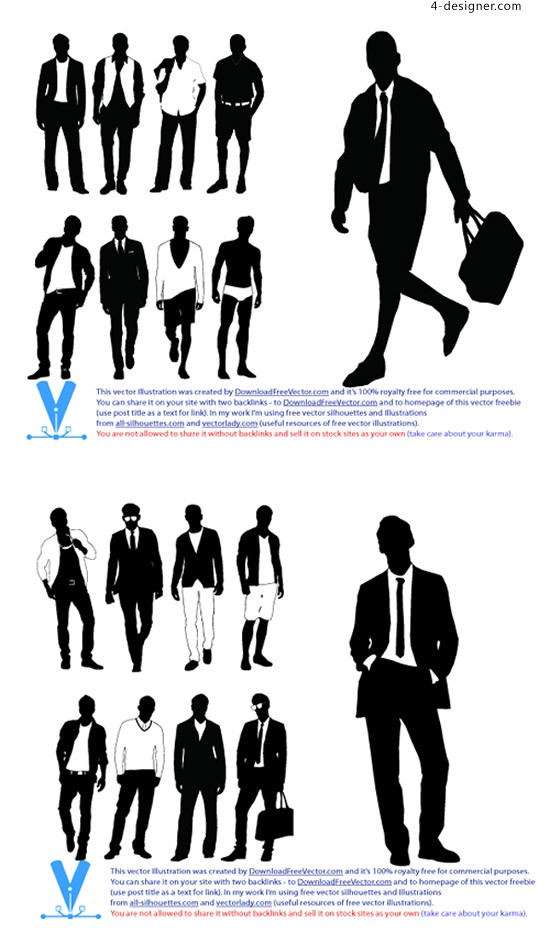 550x944 4 Designer Men S Fashion Casual Silhouettes Vector Material