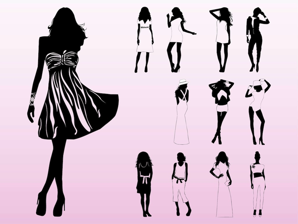1024x768 Model Silhouettes Vector Art Amp Graphics