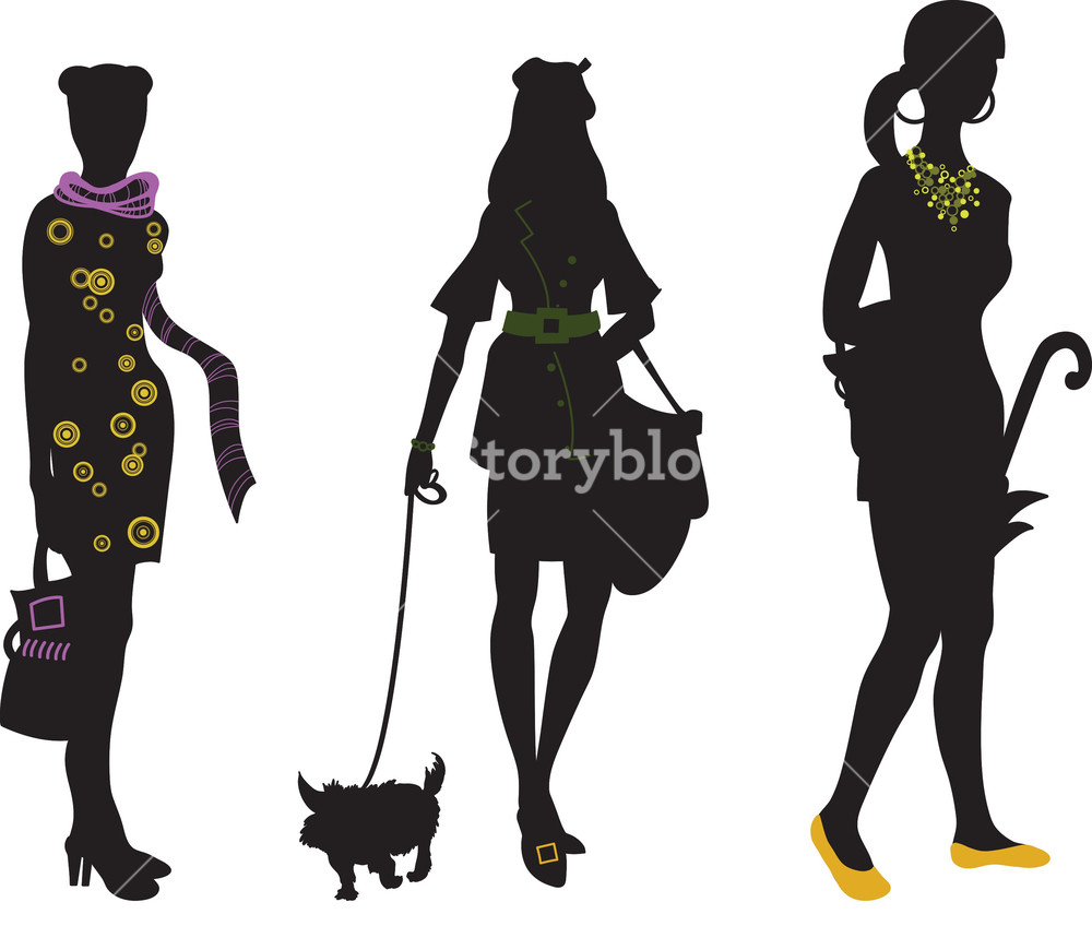 1000x848 Vector Fashion Silhouettes Royalty Free Stock Image
