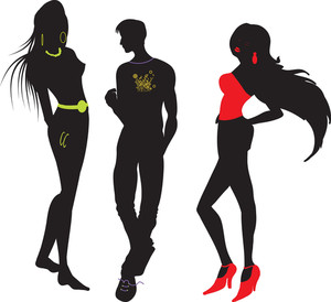 300x274 Vector Fashion Women Silhouettes Royalty Free Stock Image