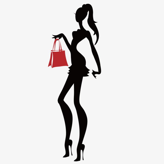 650x651 Fashion Shopping Girl Silhouette, Vector, Beauty, Silhouette Png