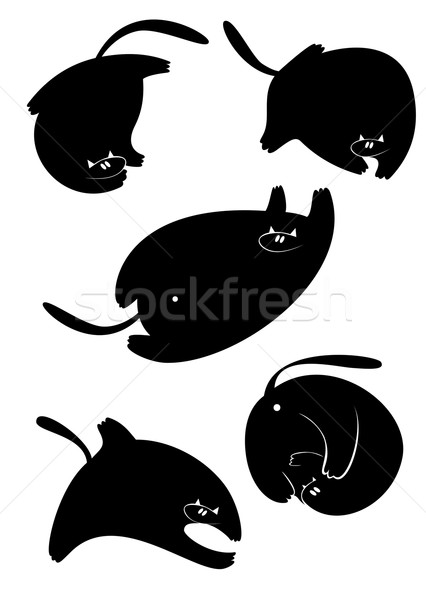 426x600 Fat Cat Silhouette Vector Collection Vector Illustration