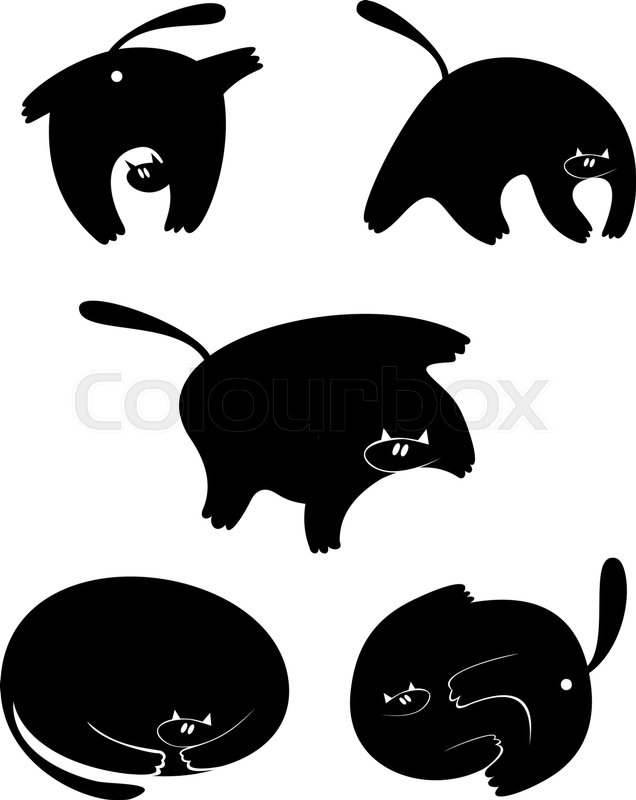 636x800 Fat Cat Silhouette Vector Illustration Collection For Your Design