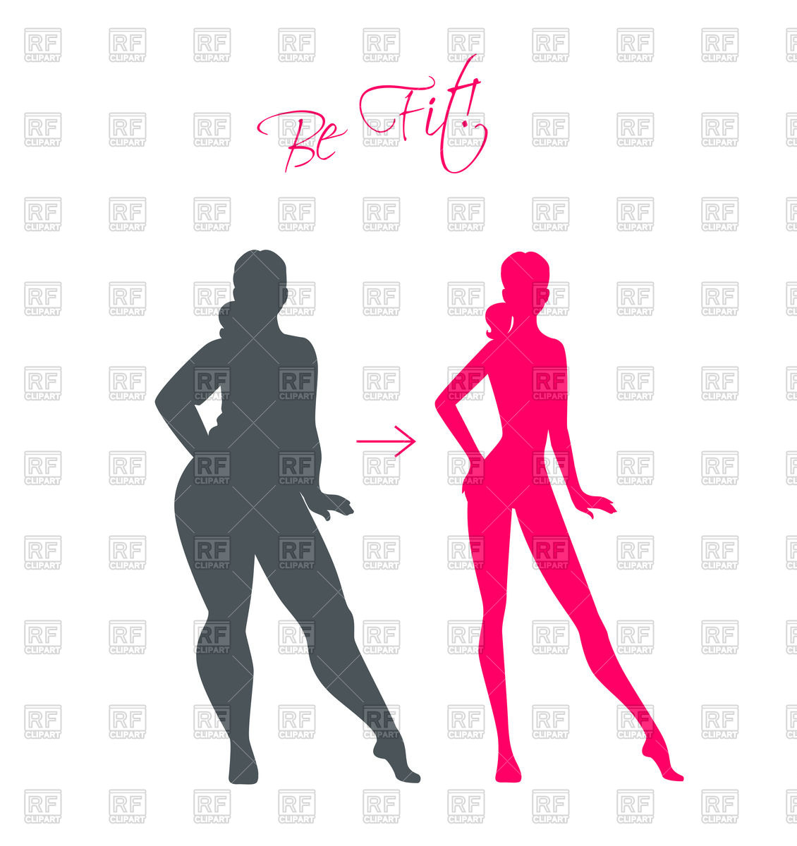 1130x1200 Slim And Fat Girl Silhouettes Royalty Free Vector Clip Art Image