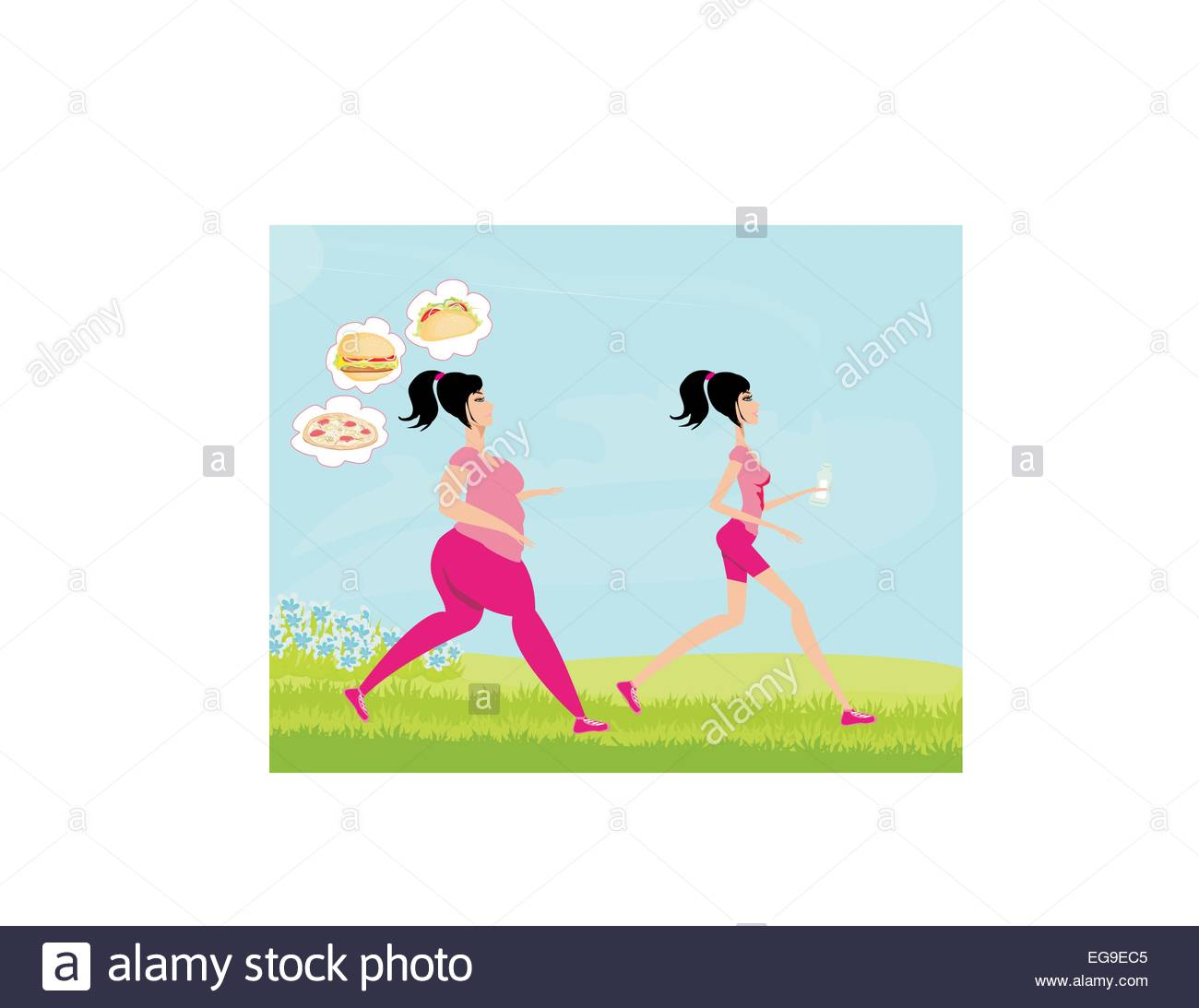 1300x1093 Young Woman Jogging,fat Girl Dreams Of Unhealthy Eating, Skinny