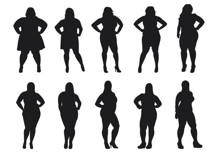 700x490 Fat Women Silhouettes Vector