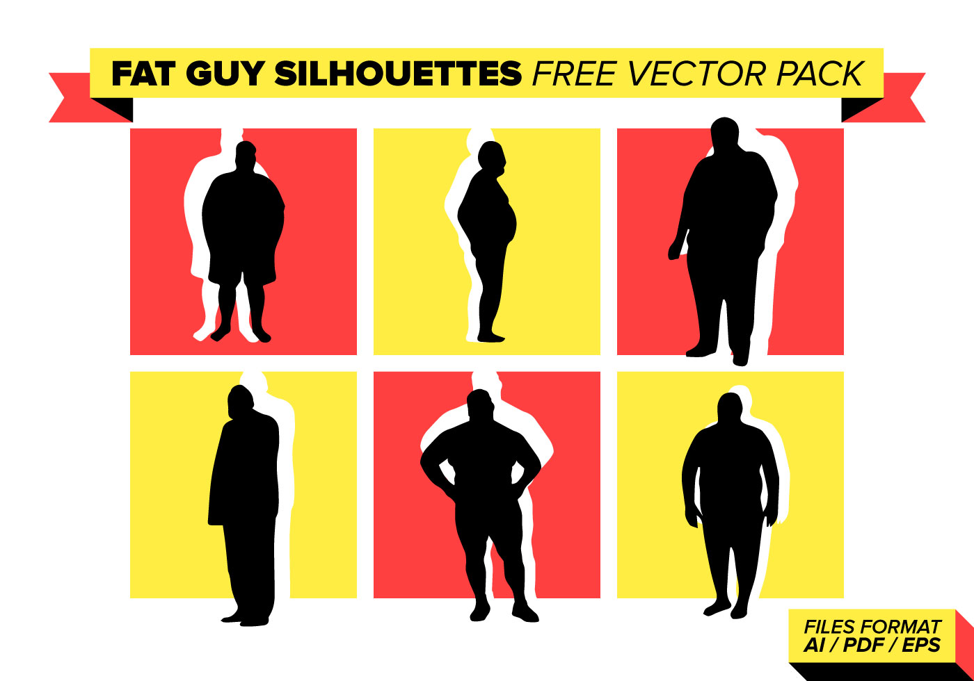 1400x980 Fat Guy Silhouettes Free Vector Pack