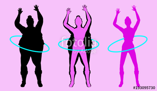 500x291 Fat And Slim Woman Silhouette Exercising With Hula Hoop Stock