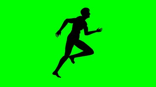 320x180 Fat Man Running Profile Green Screen Motion Background