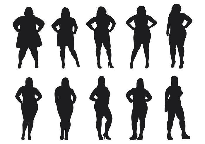 700x490 Fat Women Silhouettes Vector