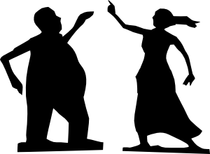 300x220 Man And Woman Dancing Silhouettes Clip Art