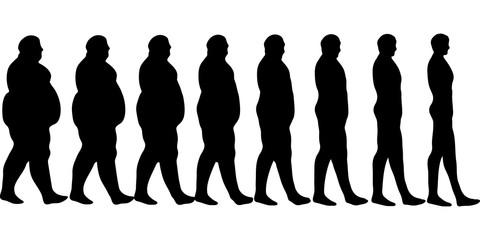 480x240 Set Of Icons Human Thick, Thin, Fat, Body Size, Degree Of Obesity