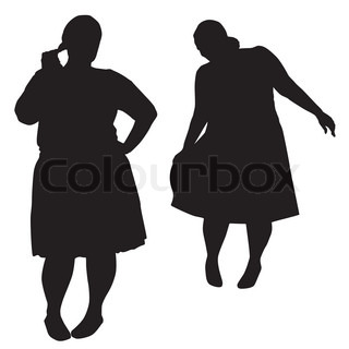 320x320 Silhouettes Of Bodybuilder And Fat Woman Stock Vector Colourbox