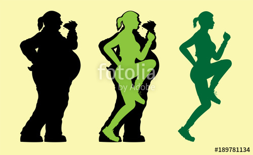 500x306 Fat And Slim Woman Silhouette Stock Image And Royalty Free Vector