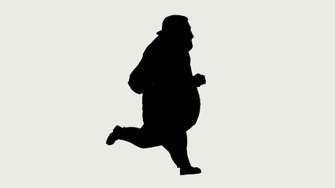 480x270 Profile Of Fat Man Running In Silhouette ~ Footage