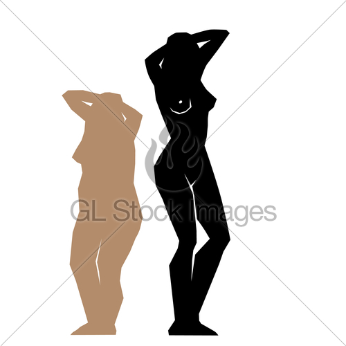 500x500 Silhouette Fat And Slim Girls. Gl Stock Images
