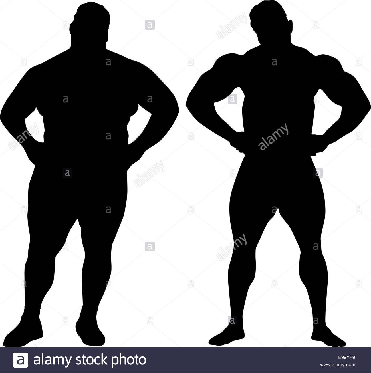 1300x1307 Silhouettes Of Bodybuilder And Fat Man Stock Photo, Royalty Free