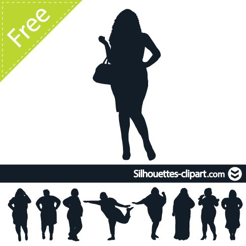 500x500 Fat Women Vector Silhouette Silhouettes Fat Women