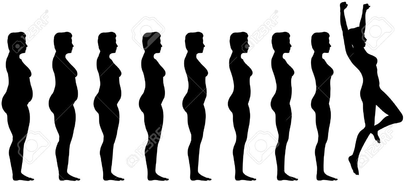 1300x585 Woman Silhouettes Are Symbol Of Fat To Fit Diet Weight Loss
