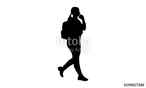 500x300 Silhouette Of A Fat Woman With Backpack Walking Stock Image