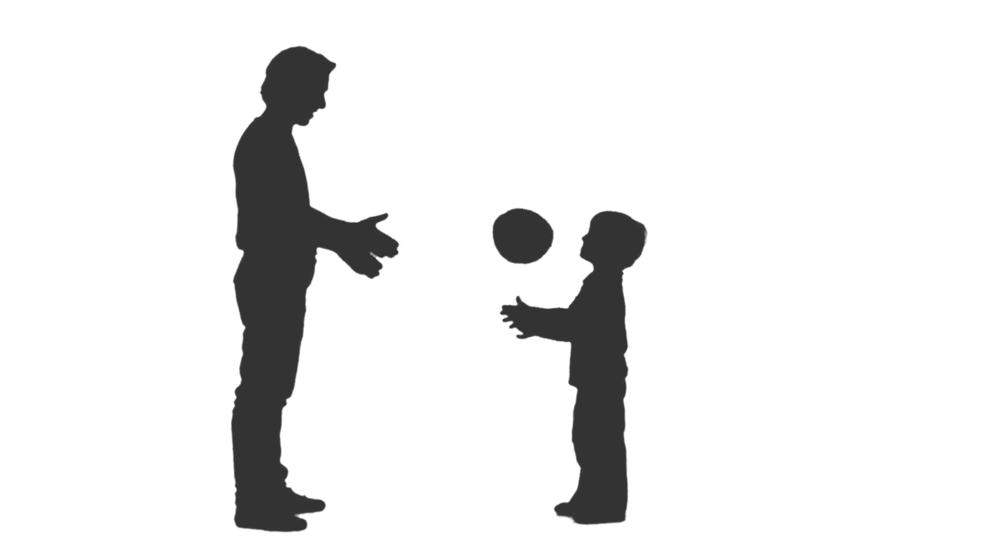 1920x1080 Silhouette Of Father And His Little Son Playing Ball. Full Hd