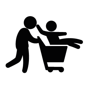 283x283 Father With Son On Shopping Cart Silhouette Silhouette Of Father