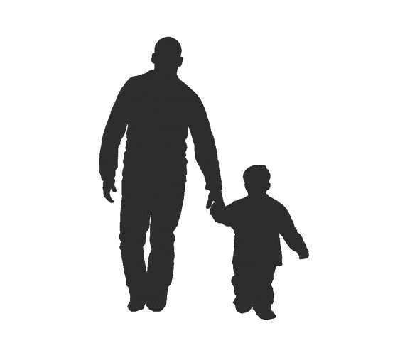 570x507 Father Son Silhouette Dad Daddy Father's Day Embroidery