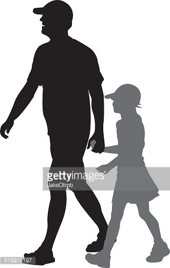 331x522 Father And Daughter Walking Silhouette Stock Vectors