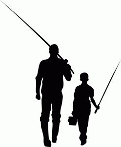 Father Son Fishing Silhouette