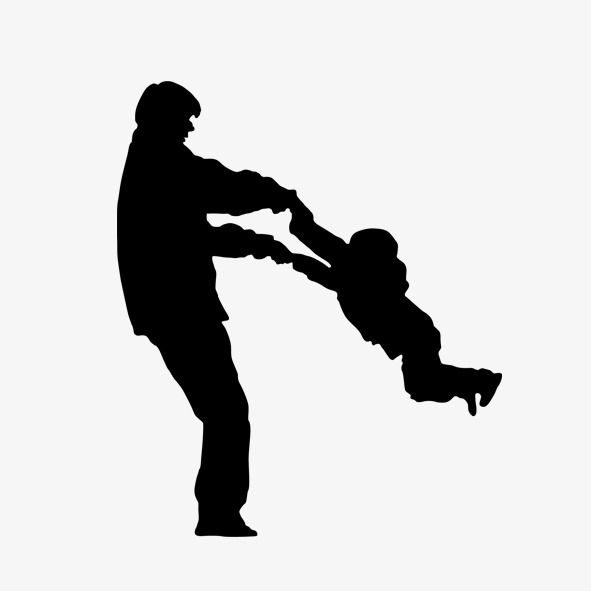 591x591 Silhouette Of Father And Son, Black, Father And Son, Father Png