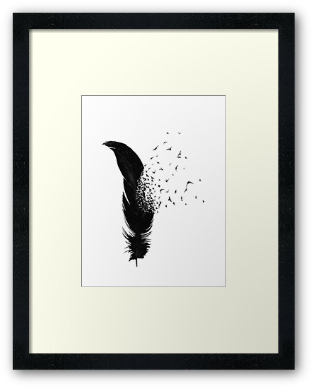 443x550 Birds Flying Out Of A Feather Framed Prints By Pentel Redbubble
