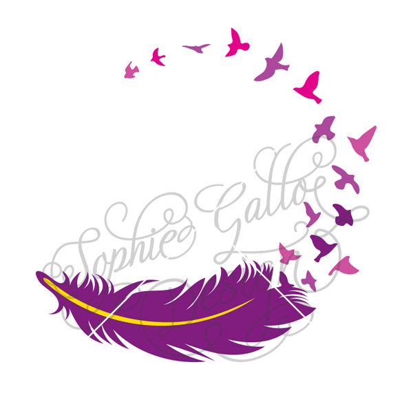 600x600 Feather Birds Tattoo Svg Dxf Amp Png Digital Download Files