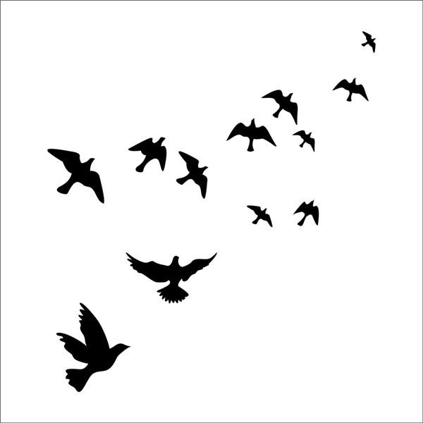 600x600 Birds Flying Feather Vinyl Wall Sticker Bedroom Home Decal Mural