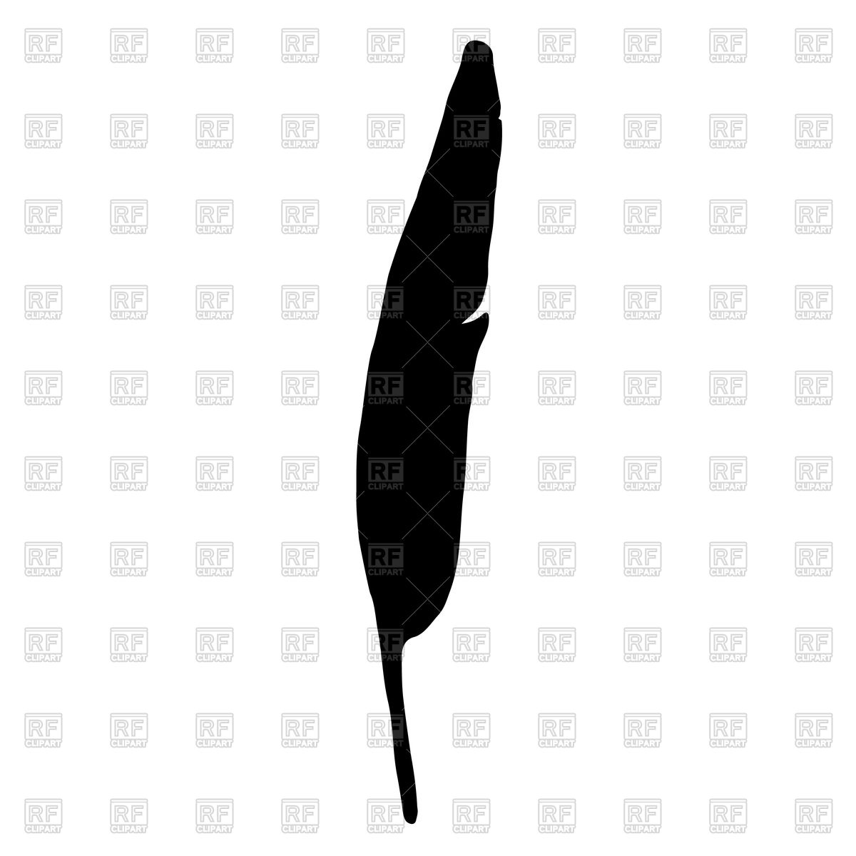 1200x1200 Black Bird Feather Silhouette Royalty Free Vector Clip Art Image