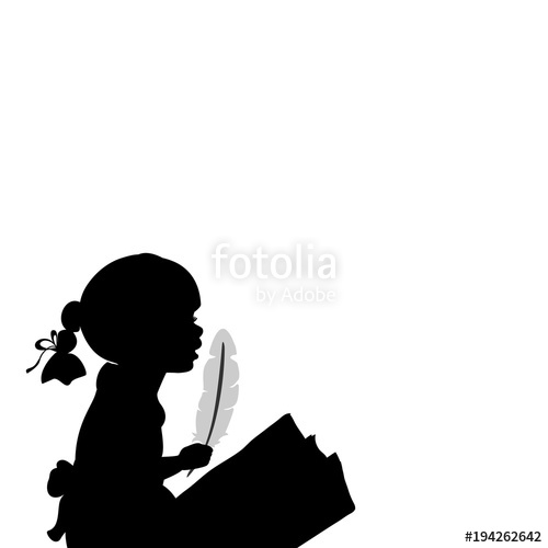 500x500 Silhouette Girl With Feather. World Poetry Day Stock Image