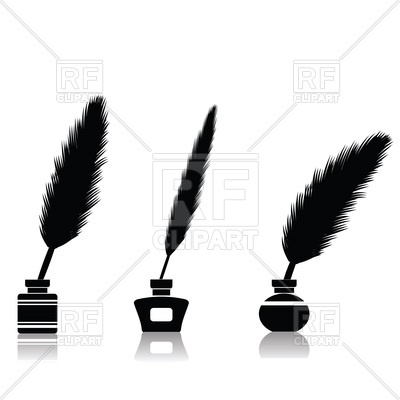 400x400 Silhouette Of Feather Pen In Inkwell Royalty Free Vector Clip Art