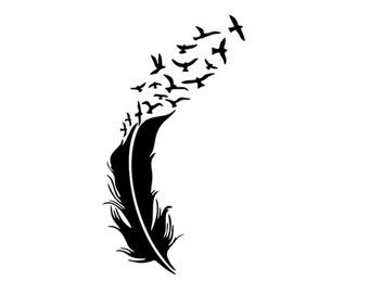 340x270 Feather And Birds Svg Dxf File Instant Download Silhouette Cameo