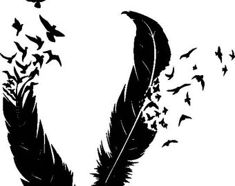 340x270 Feather Svg, Feather Bird Svg File, Flying Birds Svg, Feather