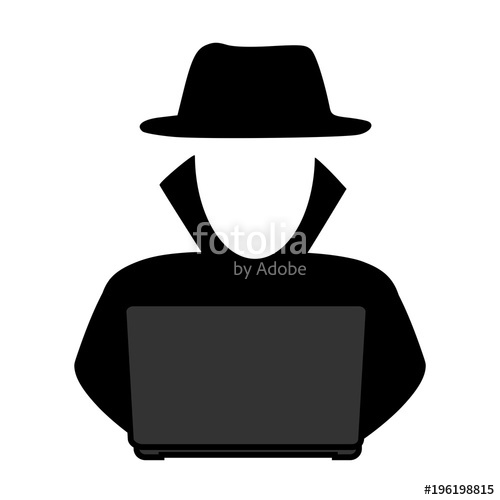 500x500 Simple, Grey Scale Hacker In Front Of A Laptop Icon. Silhouette